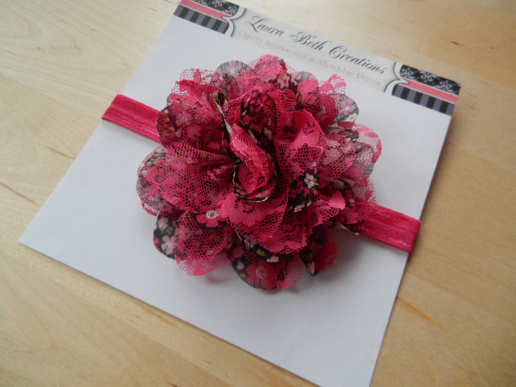 "Hot Pink Floral Chiffon Lace 3.5"" Flower on FOE Headband or Clip"