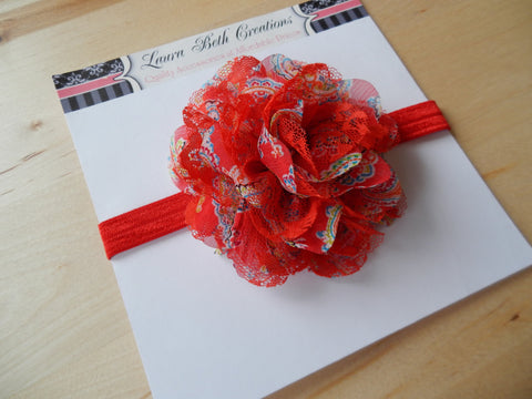 "Red Paisley Chiffon Lace 3.5"" Flower on FOE Headband or Clip"