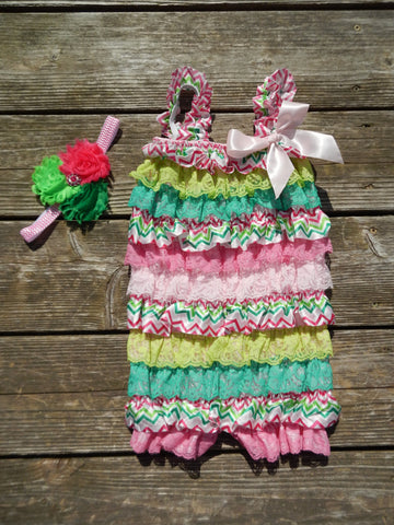 Multi Pink/Green Chevron Petti Romper and Headband Set