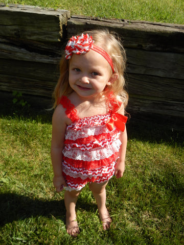 Red Chevron Petti Romper and Headband Set