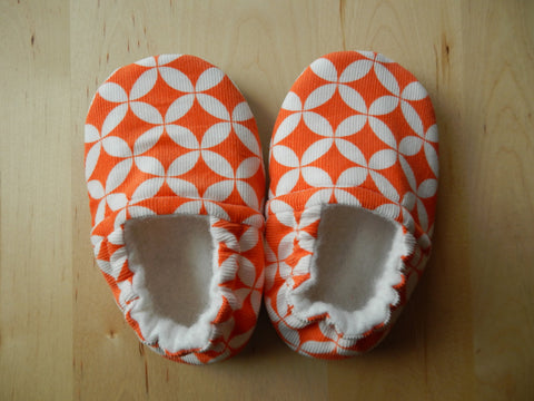 Orange and White Corduroy Baby Shoes