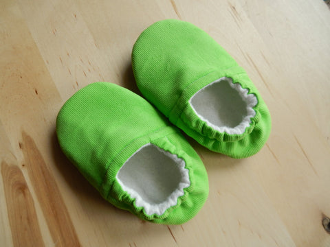 Lime Green Corduroy Baby Shoes