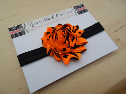 Halloween Collection - Orange/Black Shabby Chic Rose Headband