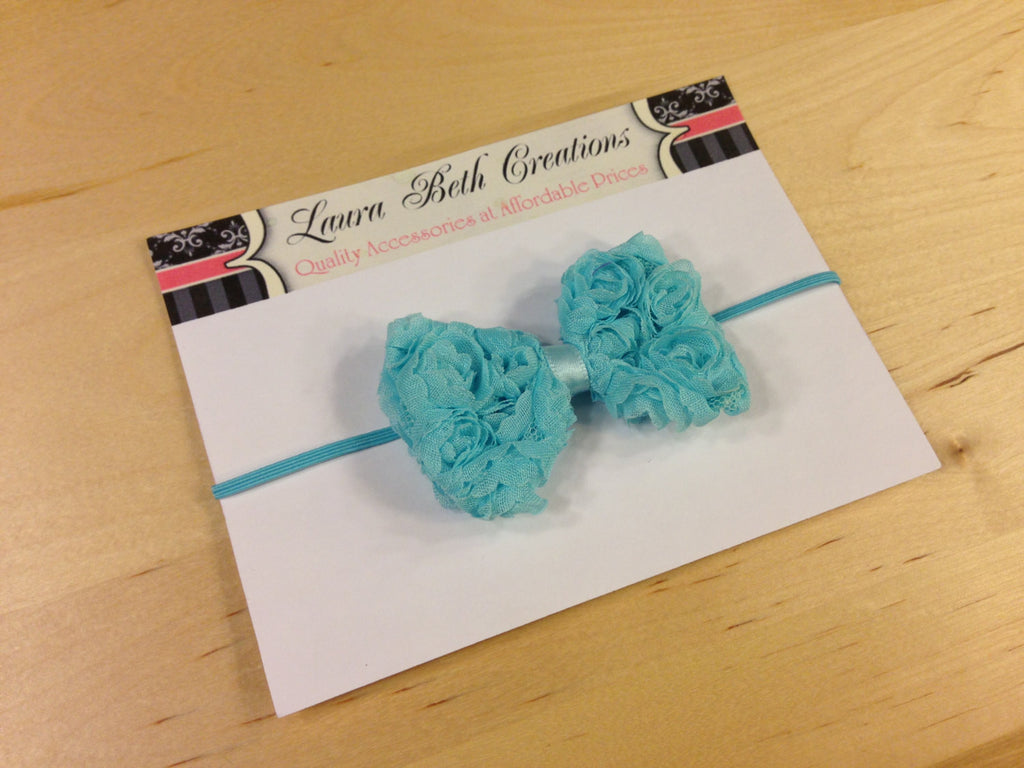 Aqua Mini Chiffon Rose Bow Headband