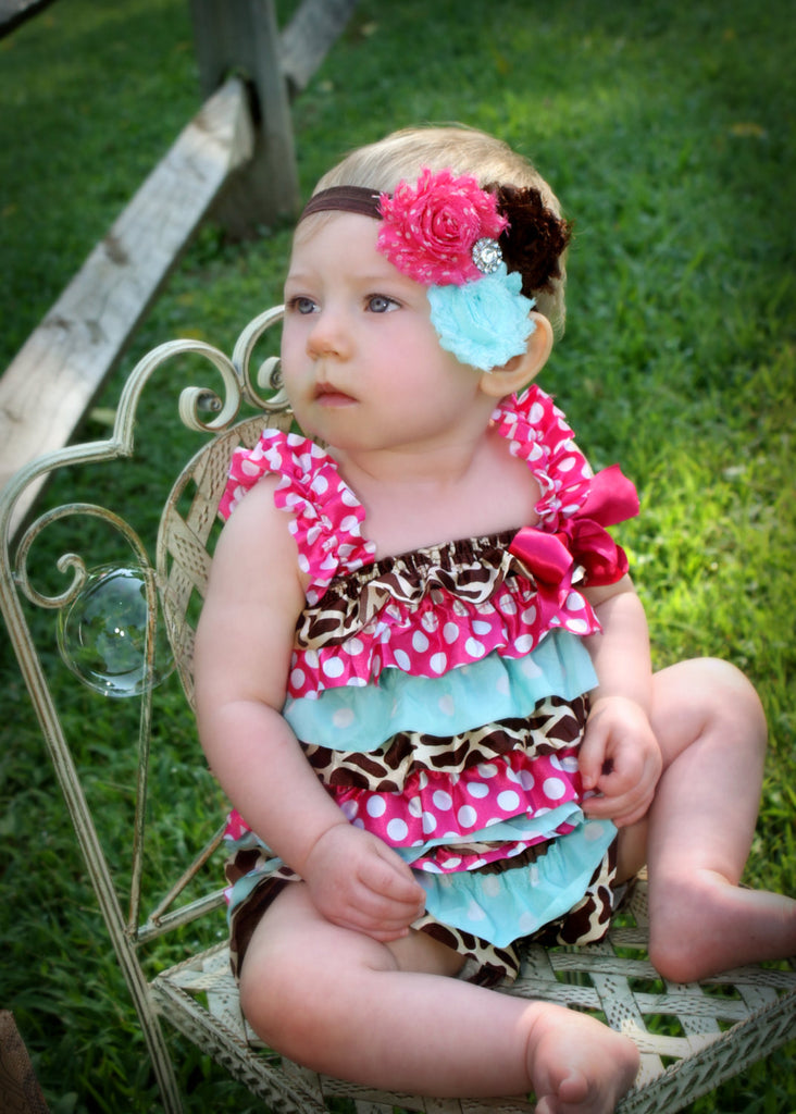 Hot Pink, Aqua, Brown Giraffe Satin Petti Romper/Headband Set