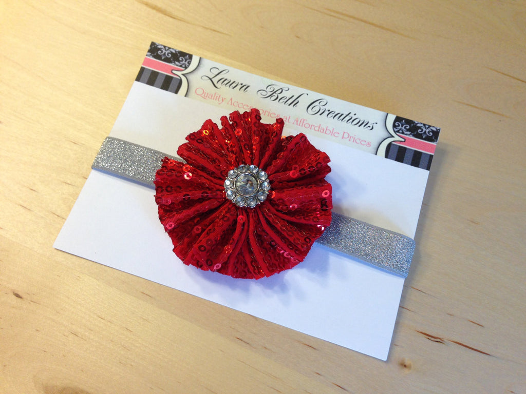 Red Sequin Sparkle Headband