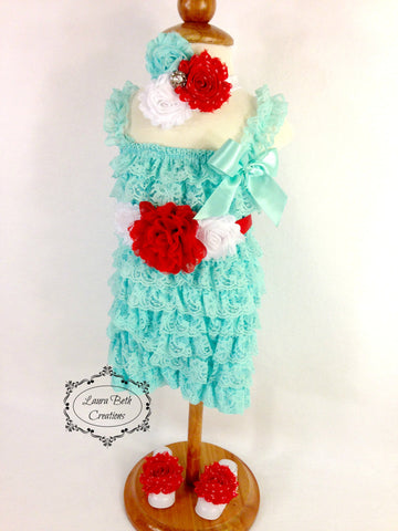 Complete Lace Romper Set with Sash, Headband, & Barefoot Sandals - Aqua, Red, and White