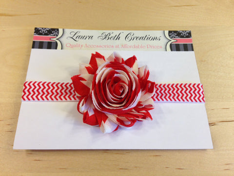 Red Stripe/Chevron Shabby Chic Rose Headband