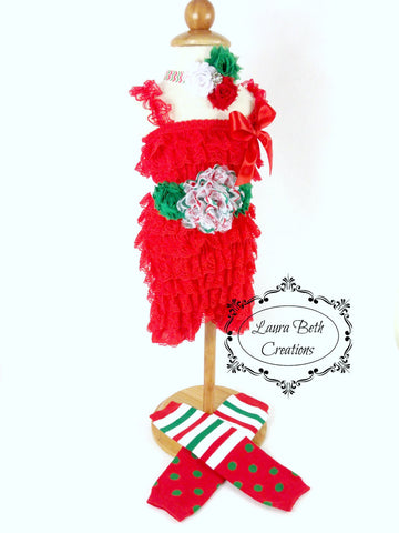 Complete Lace Romper Set with Sash, Headband, & Leg Warmers (Optional) - Red, Green, and White