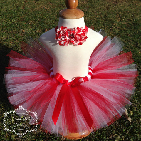Candy Cane Red and White Tutu and Matching Headband
