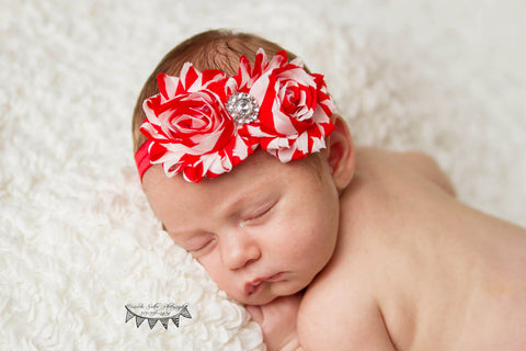 Double Red Stripe FOE Shabby Chic Headband