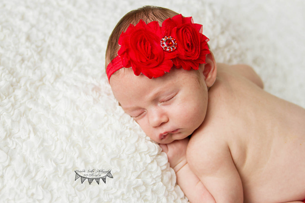 Double Red FOE Shabby Chic Headband