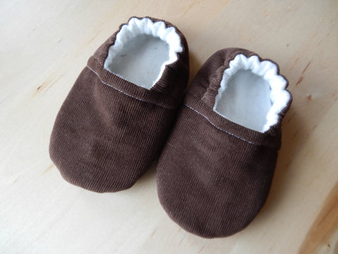 Brown Corduroy Handmade Baby Shoes