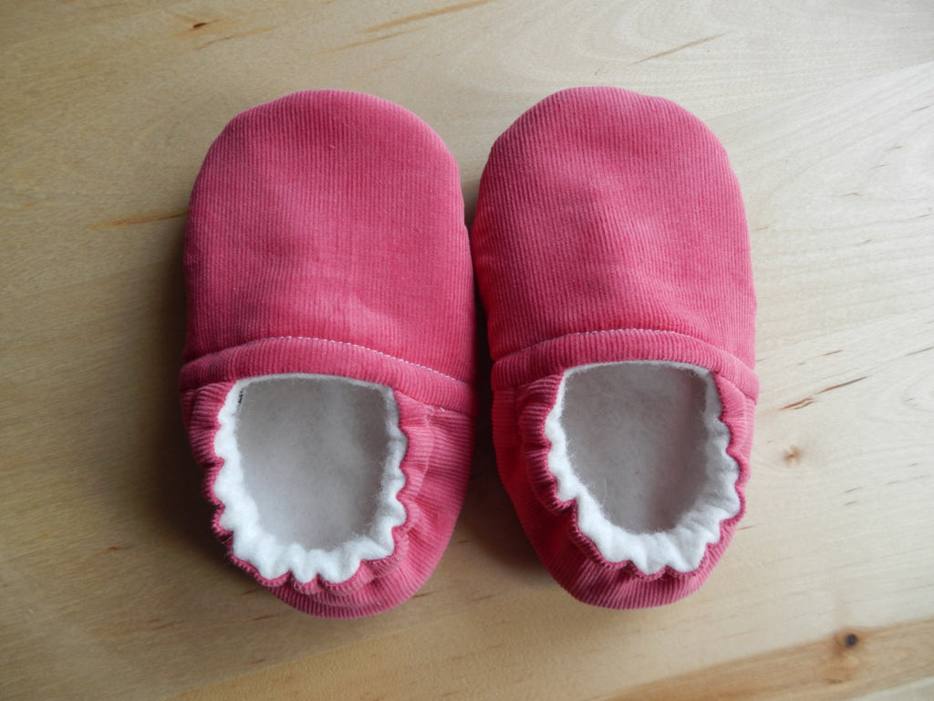 Hot Pink Corduroy Handmade Baby Shoes