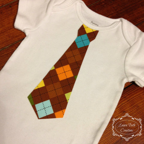 Baby Boy Tie Bodysuit - Brown Argyle