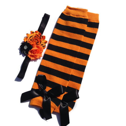 Halloween Collection - Orange and Black Stripe Leg Warmer and Headband Set