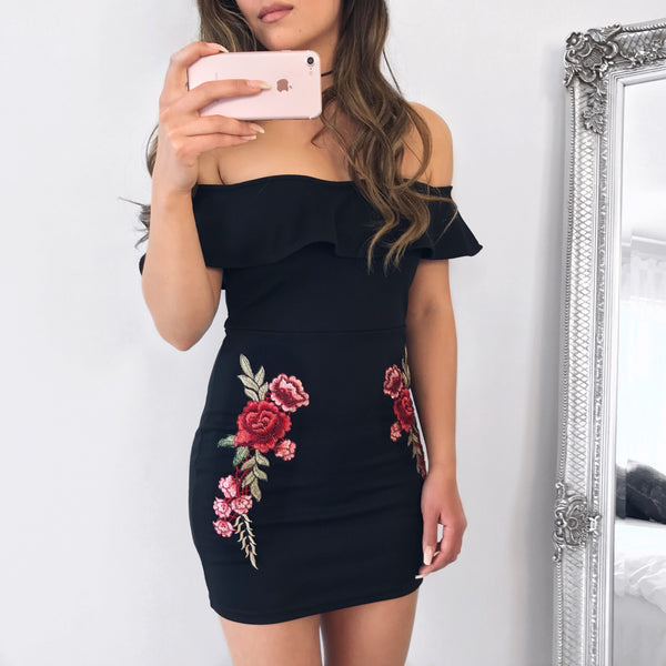 'Roses are Red' off the shoulder dress - Inkspo