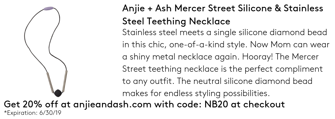 Anjie + Ash Mercer Street Silicone & Stainless Steel Teething Necklace