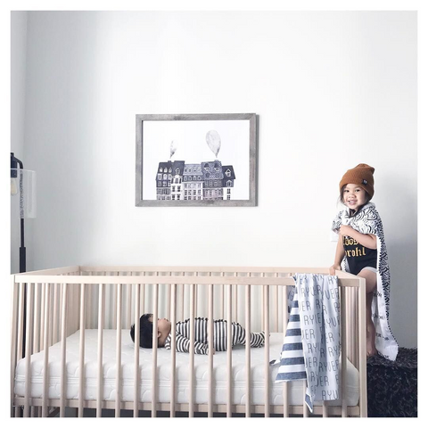example of black and white baby boy nursery ideas