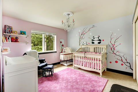baby girl nursery ideas with panda and cherry blossom wall decals