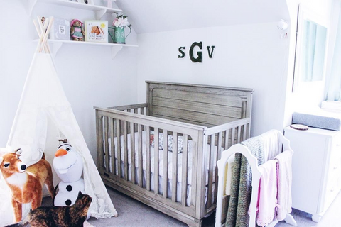 baby girl nursery ideas with monogrammed wall