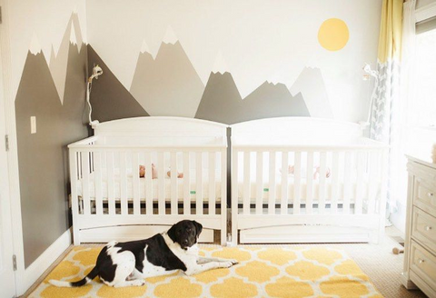 two cribs for twins in yellow themed nursery with family dog
