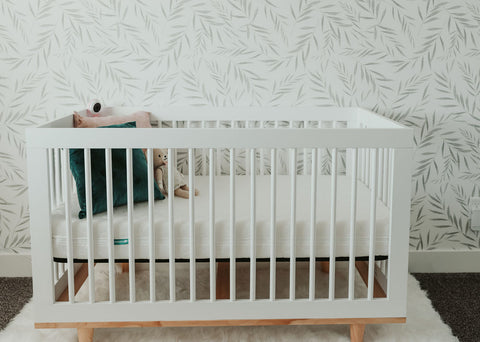 crib set up for baby to sleep in