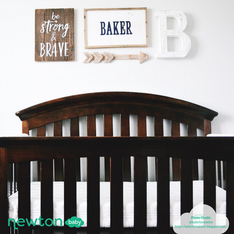 example of personalized twin nursery ideas with painted signs and monograms