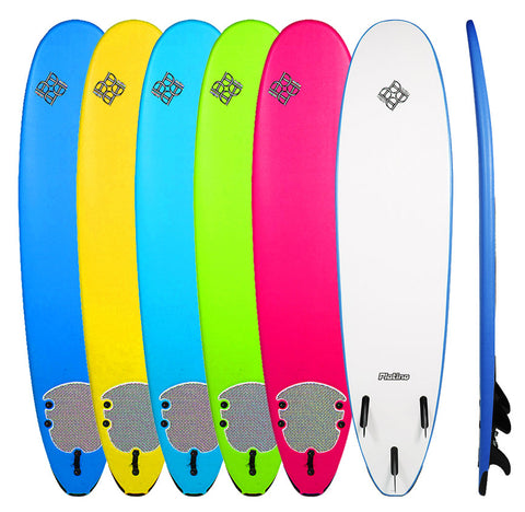 Platino 7'6 HDPE Fun Board With Free Leash and Tail Pad