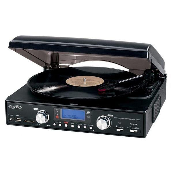 Jensen JTA-460 Turntable (USB, AM/FM Receiver)-Jensen-vinylmnky