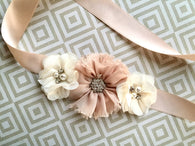 Vintage Blush Flower Girl Sash -1201