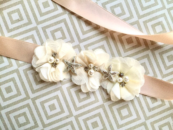 Starfish Blossom Flower Girl Sash - 1208