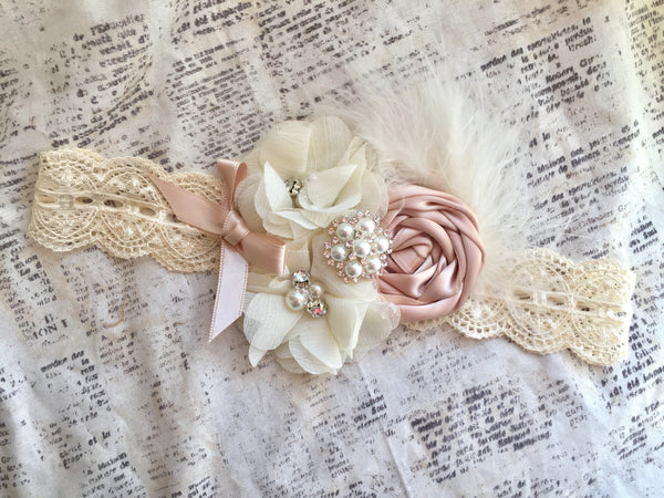 Blush flower girl headband