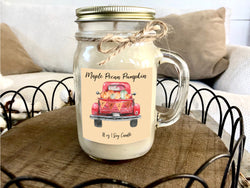 red truck fall candle