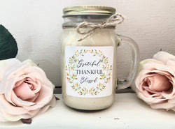 grateful thankful blessed wreath candle