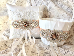 rose gold flower girl basket and ring bearer pillow