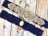 Navy Wedding Garter - Navy Garter Set - 1805