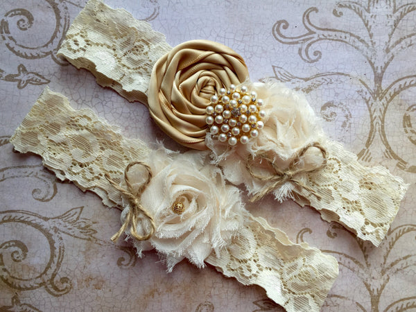 rustic wedding garter