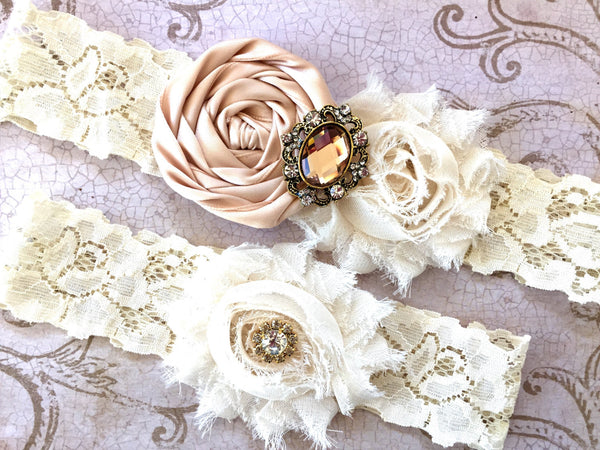 blush wedding garters