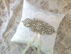wedding ring cushion with rhinestones and pearls