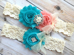 coral and turquoise wedding garter set