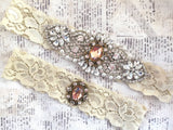 rose gold wedding garter set
