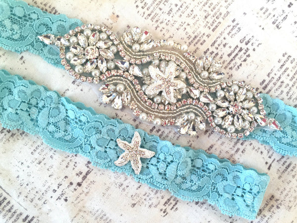beach wedding garter set
