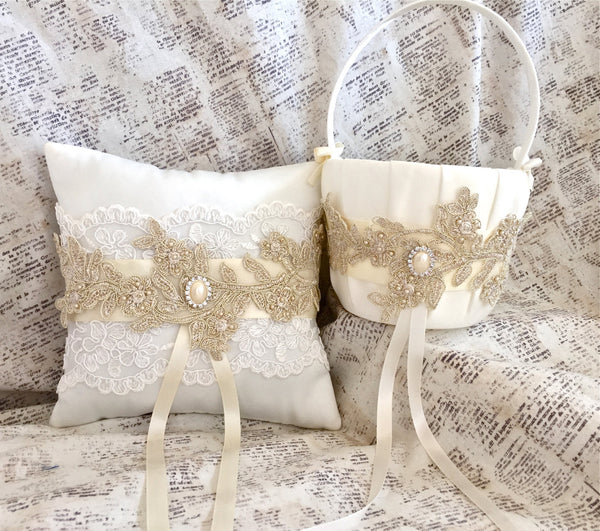 gold lace flower girl basket and ring bearer pillow