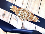navy and rose gold sash belt