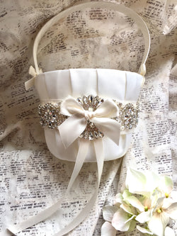 Ivory flower girl basket