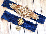 navy and rose gold wedding garter