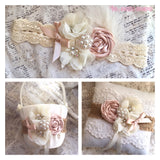 rustic flower girl basket and ring bearer pillow