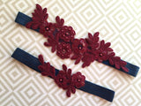 Burgundy wedding garter set