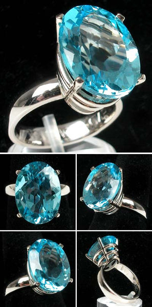 14Kt White Gold 11.6 Swiss Blue Topaz Ring High Fashion Bruce Magnotti Cocktail Ring Fine Jewelry Size 7